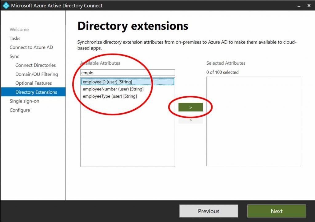 Azure AD Connect extension attributes