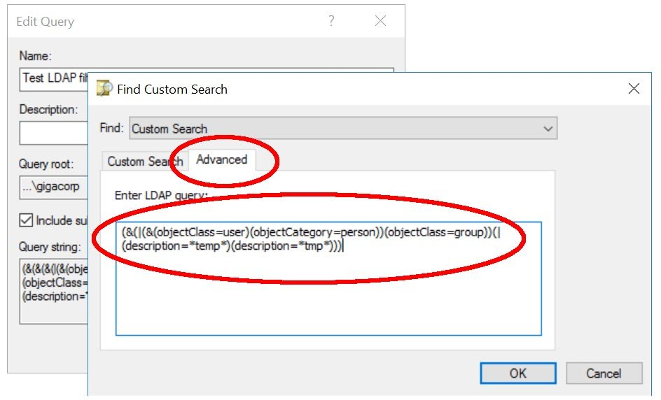 Create an LDAP Filter in AD Users & Computers