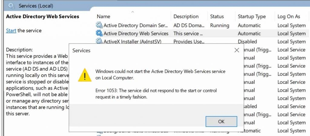AD Web Services service unable to start