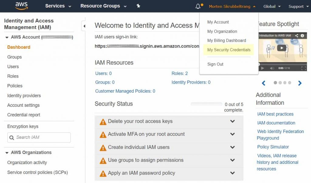 AWS IAM Console set up Access Keys for PowerShell