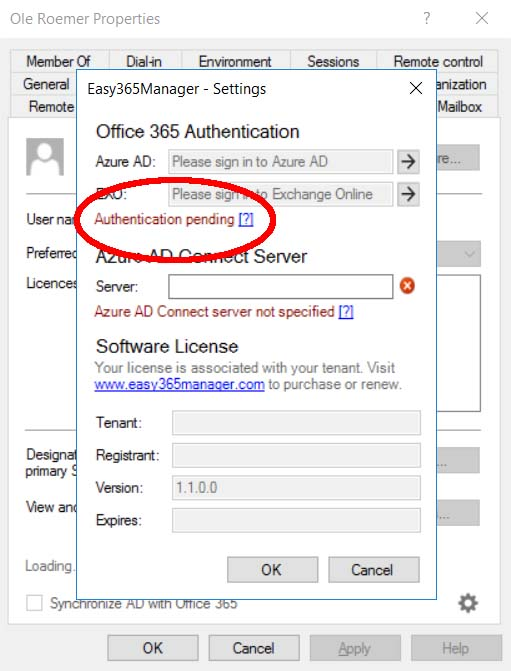 Authentication Pending Easy365Manager