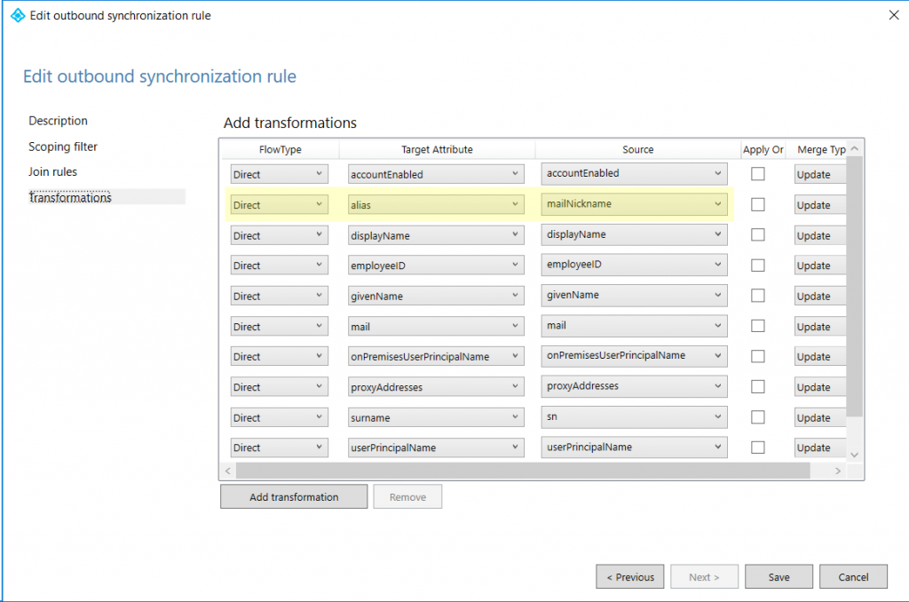 Azure AD Connect Synchronization Rule