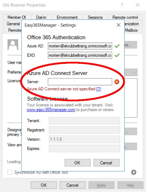 Easy365Manager Azure AD Config