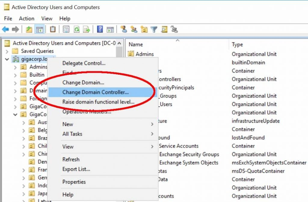AD Users & Computers change domain controller