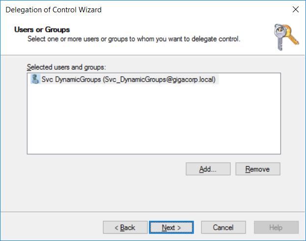 Delegation of Control Wizard DynamicGroups
