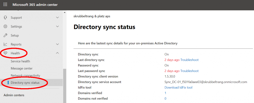 AAD Connect synchronization status