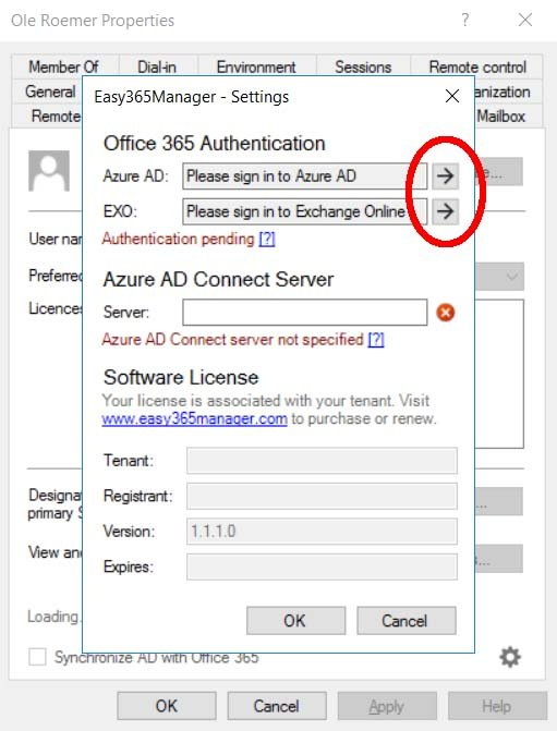 Easy365Manager Office 365 Configuration