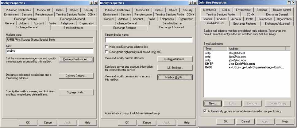 Exchange 2003 administration tabs