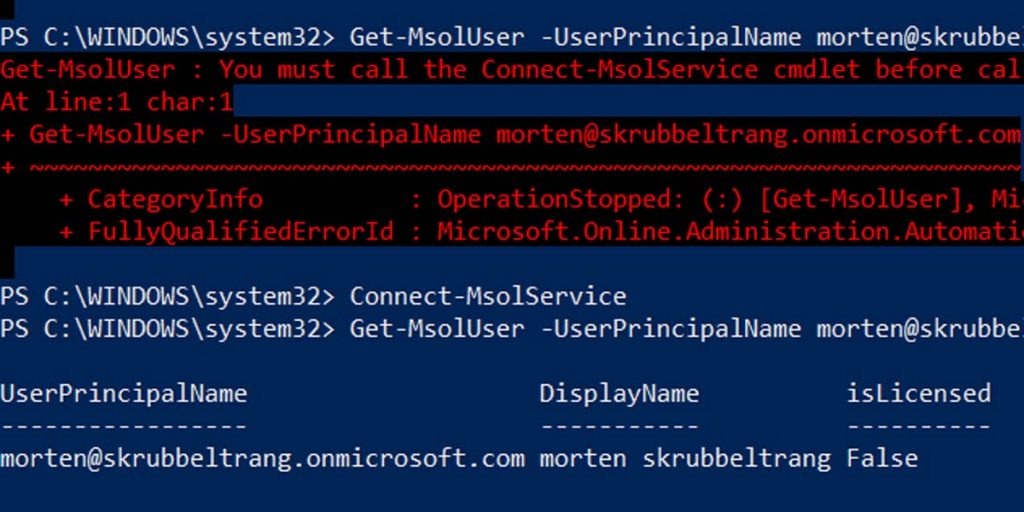 Get-MSOLUser You must call the Connect-MsolService cmdlet