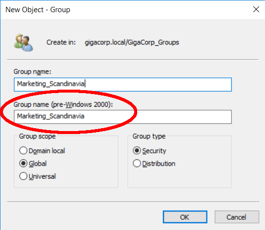 DynamicGroups AD Group Name