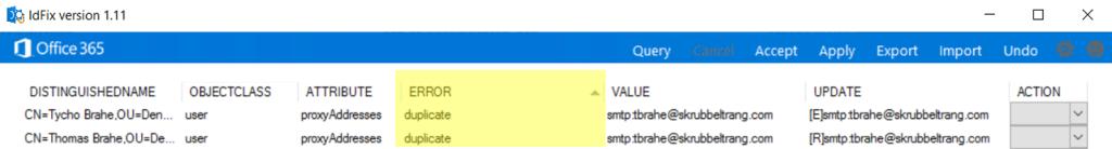 IdFix Duplicate Error message