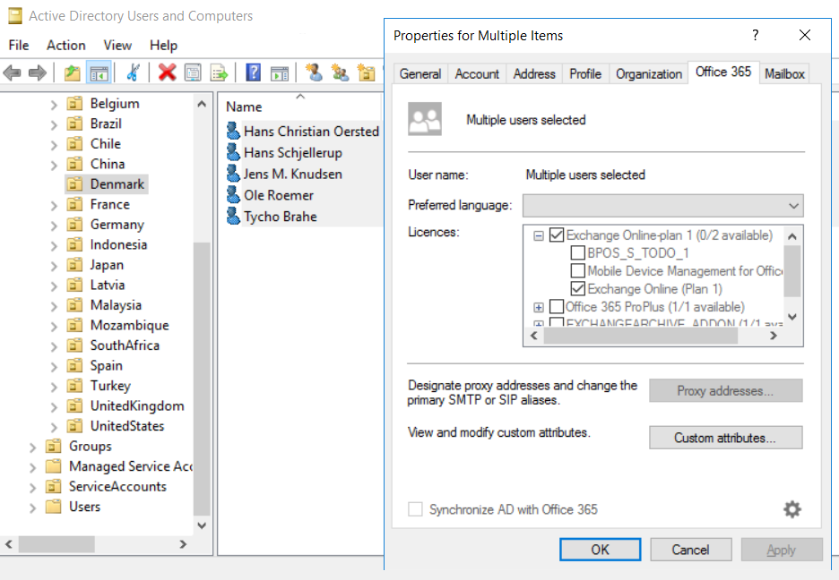 Easy365Manager Multiple User Editing
