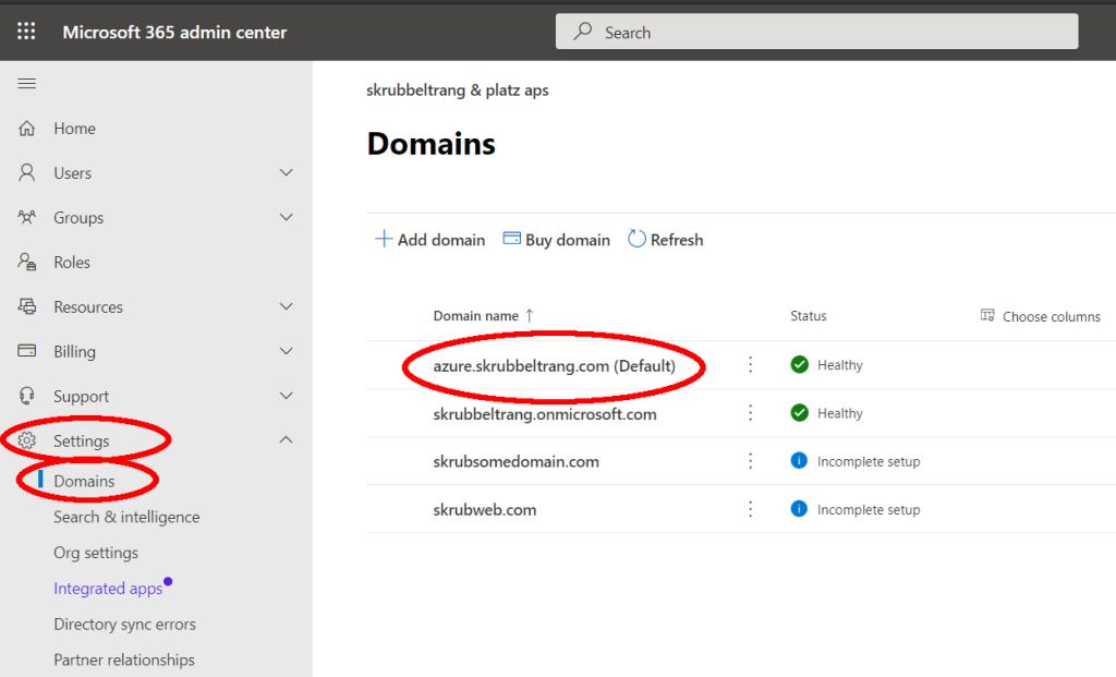 Office 365 default domain name
