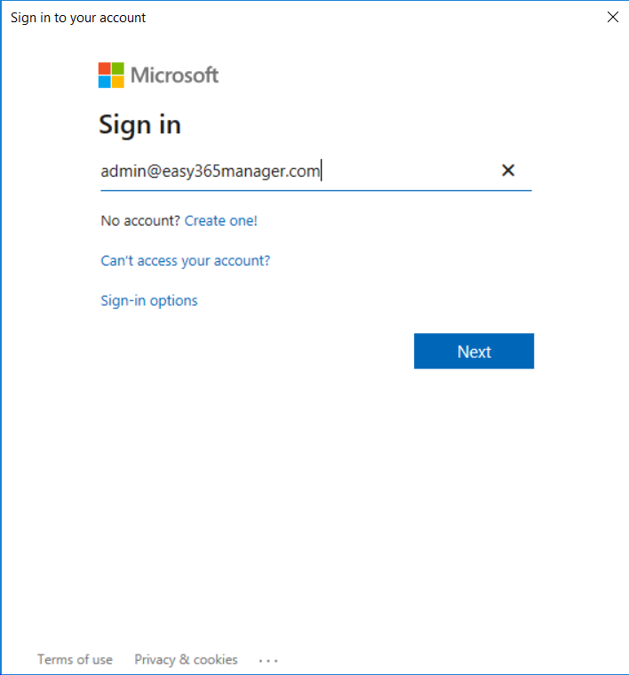 Easy365Manager Office 365 authentication