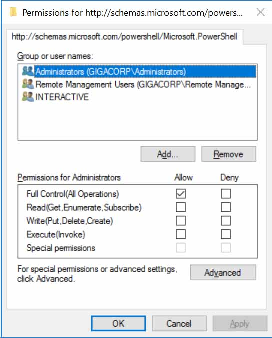 PowerShell remote access settings