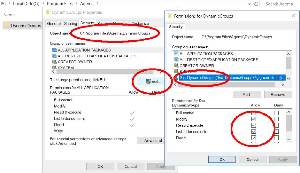 Programs folder NTFS DynamicGroups