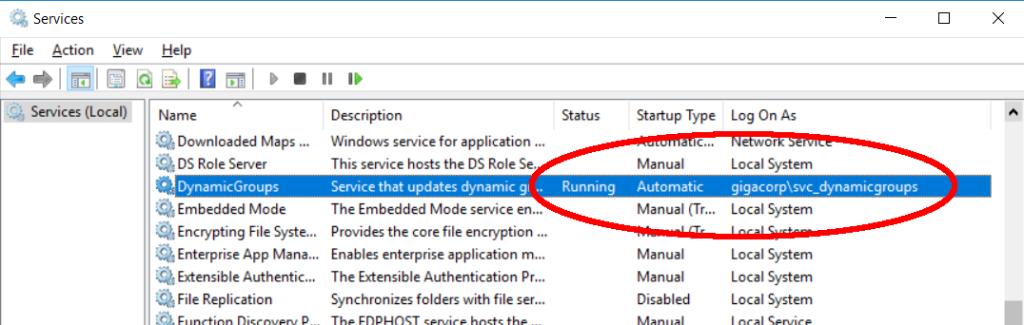 Service configuration DynamicGroups