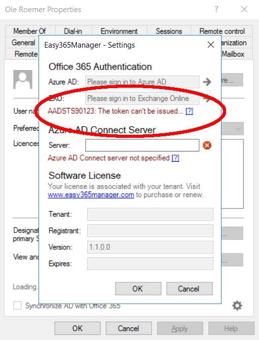 Unknown authentication error