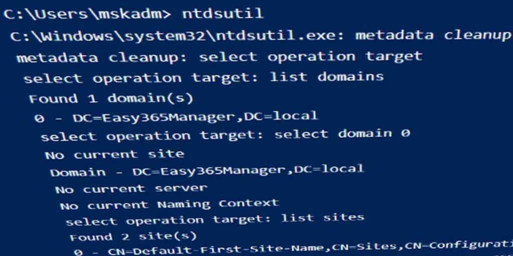 ntdsutil metadata cleanup